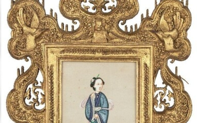 A pair of Chinese gouache paintings on rice paper, late...