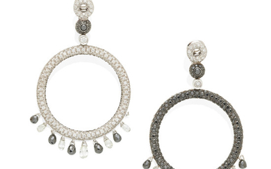 A pair of white gold diamond and colored diamond ear pendants