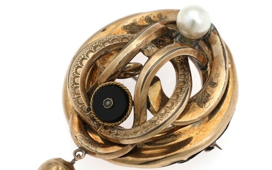 A pearl and onyx brooch set with cultured pearls and an onyx dial, mounted in...