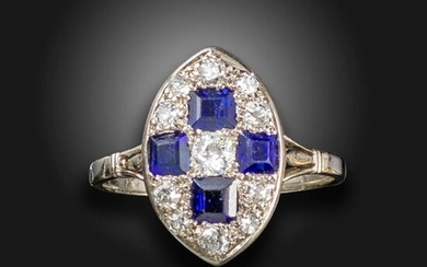 A sapphire and diamond lozenge ring, set with graduated old circular-cut diamonds and square-shaped sapphires in chequerboard pattern in white gold, size P