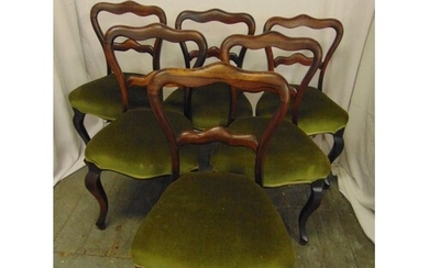 A set of six Victorian rosewood balloon back upholstered din...