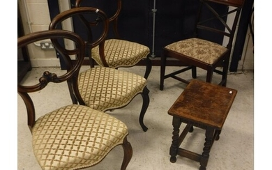 A set of three Victorian rosewood kidney back dining chairs ...