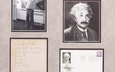 ALBERT EINSTEIN SIGNED SET OF MATHEMATICAL CALCULATIONS above the...