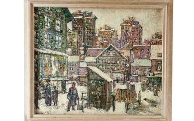 "AMERICAN SCHOOL: ""WINTER CITYSCAPE"""