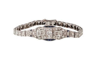 AN ART DECO DIAMOND AND SAPPHIRE BRACELET, the diamonds esti...