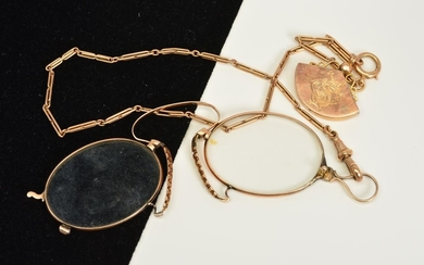 AN EDWARDIAN PINCE-NEZ AND 9CT GOLD CHAIN, the pince-nez wit...