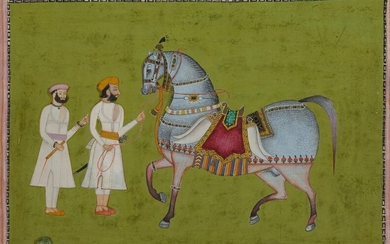 AN INDIAN MINIATURE DEPICTING TWO MEN AND A HORSE