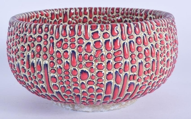 AN UNUSUAL CHINESE DRIP GLAZED POTTERY BOWL 20th