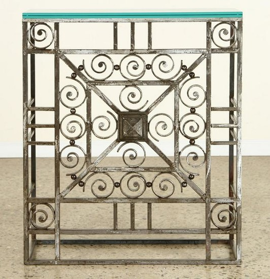 ART DECO IRON CONSOLE TABLE GLASS TOP C.1930