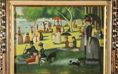 "After Georges Seurat ""Sunday in the Park"" Oil"
