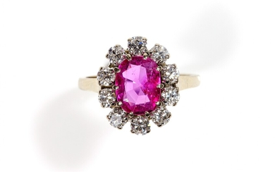 An 18k white gold ruby and diamond cluster ring, A. B. Hartman, The Hague