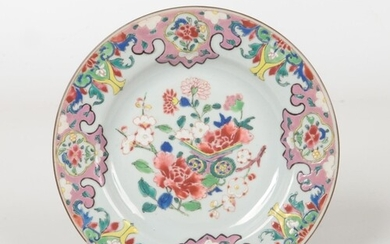 An 18th century Chinese famille rose plate decorated with pe...