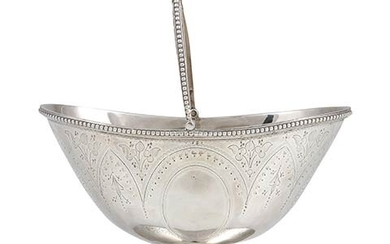 An English Victorian sterling silver sugar basket - London 1876,...