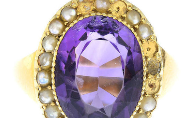 An amethyst and split pearl cluster ring.