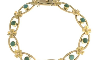 An early 20th century 15ct gold turquoise floral
