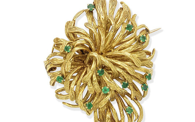 An emerald spray brooch