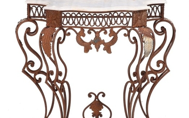 An iron console decorated with foliage, white marble top. 20th-21st century. H. 81. L. 97. W. 45 cm.