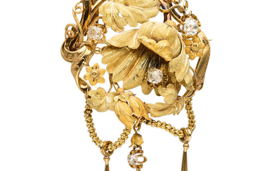 Antique Diamond, Gold Brooch The brooch features Old mine-cut...