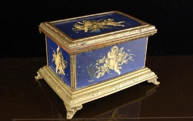 Antique Wood Bronze Ormolu Painted Footed Box