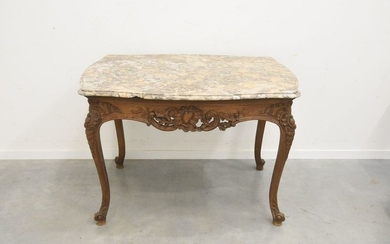 Antique game table with marble top (ht 78...