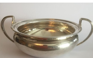 Antique silver sugar bowl, a twin handled shallow bowl with ...
