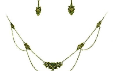 Art Nouveau Enamel Gold NECKLACE and EARRINGS Set with