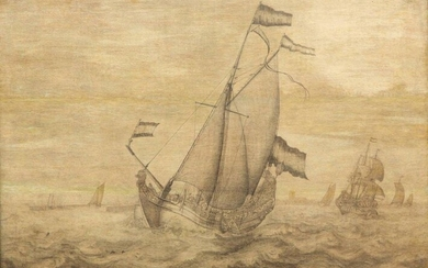 Attributed to Pieter Vogelaer (1641-1720), Dutch ships on...