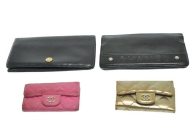 Authentic Chanel Caviar Skin Leather Matelasse Wallet