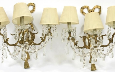 BRONZE & CRYSTAL ELECTRIFIED SCONCES, PAIR