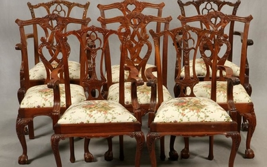 CARVED MAHOGANY CHIPPENDALE STYLE CHAIRS, 8 PCS