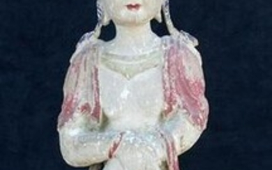 "CARVED PAINT DECORATED QUAN YIN 31.5""H"