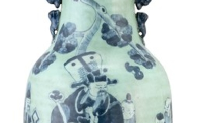 "CHINESE BLUE-ON-CELADON PORCELAIN VASE With fu lion handles and figural decoration. Height 23.6""."