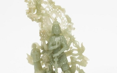 CHINESE, WELL CARVED JADE FIGURE OF AN IMMORTAL