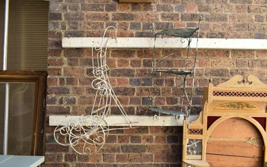 COLLECTION OF 2 WIRE WORK PLANTER STANDS AND VINTAGE BIRD FEEDER