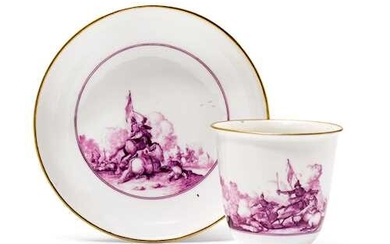CUP AND SAUCER WITH BATTLE SCENES