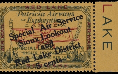 Canada 1926-7, 25c Patricia Airways Semi-Official airmail, 25c green on red on yellow paper, h...