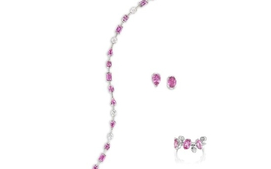 Cartier, A Pink Sapphire and Diamond 'Meli Melo' Parure, Cartier