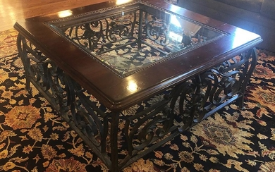 Carved hardwood, Glass, & Rod Iron Coffee Table, RA8A
