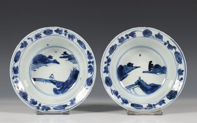 China, pair of blue-white porcelain bowls, early 17th...
