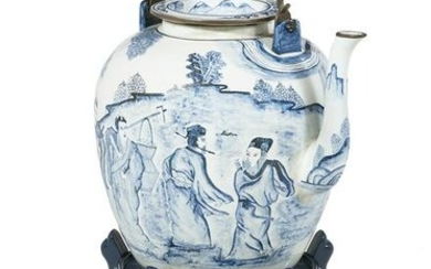 Chinese Blue & White Porcelain & Brass Punch Pot
