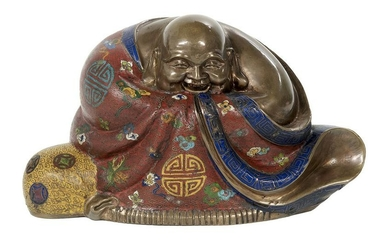 Chinese Bronze and Cloisonne Figure of a Budai