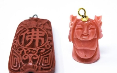 Chinese Necklace Pendants 14kt Gold Coral Cinnabar