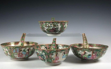 Chinese Polychrome Rose Famille Bowls