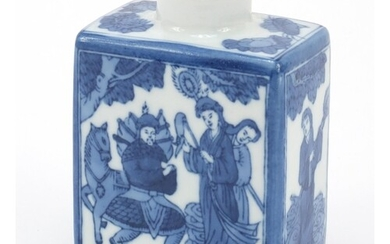 Chinese blue and white porcelain tea caddy, hand painted wit...