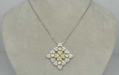 Ciemme Diamond White Gold Yellow Gold Pendant Necklace
