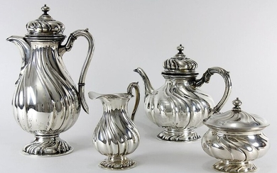 Coffee-tea set of 800 silver, German around 1900, Wilkens Bremen, in baroque style, with twisted trains, consisting of: coffeepot (h: 27 cm); teapot (h: 19 cm); milk jug (h: 14,5 cm) and sugar bowl with lid (h: 13 cm), coffeepot and teapot with hinged...