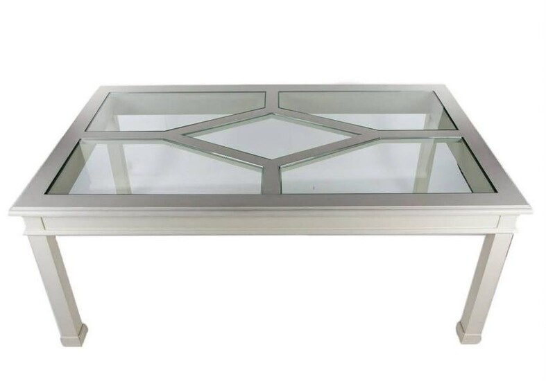 Contemporary White Wood and Glass Panel Dining Table