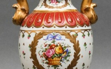 Continental Painted Porcelain Covered Urn