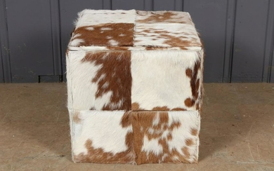 Cow Hide Cube Stool