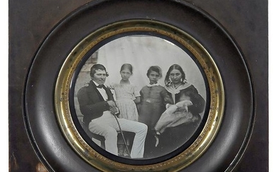 Daguerreotype of a Family with Three Children, c. 1850